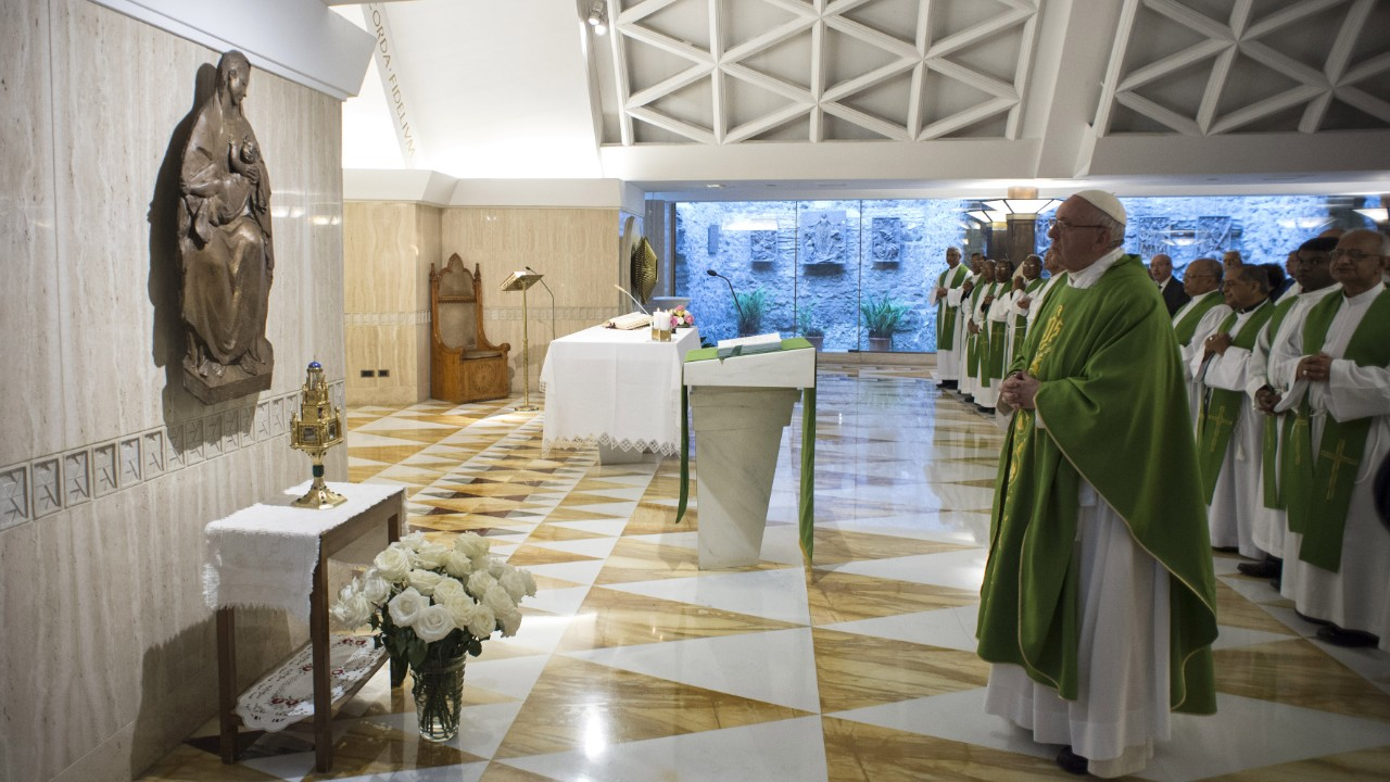 Pope Francis at Mass at the Casa Santa Marta