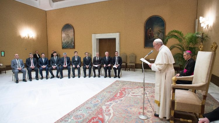 Pope Francis addresses representatives of the Yazidi community exiled in Germany