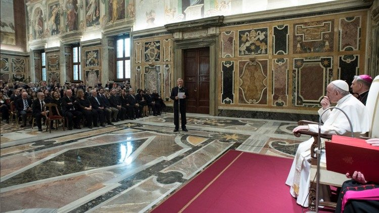 Pope Francis in the Sala Clementina
