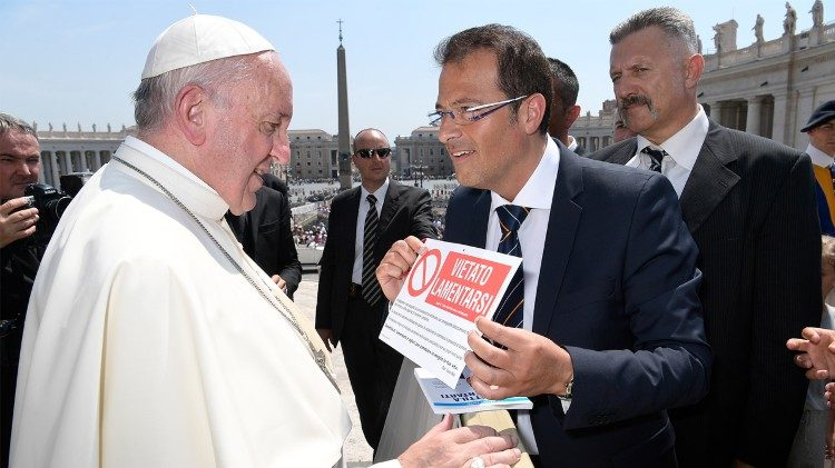 "Pope Francis and Salvo Noe, the author of the book, ""Vietato Lamentarsi""."