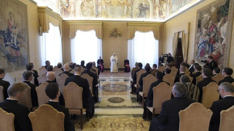 Pope Francis addresses seminarians and staff of the Venerable English College, affectionately known as the VEC