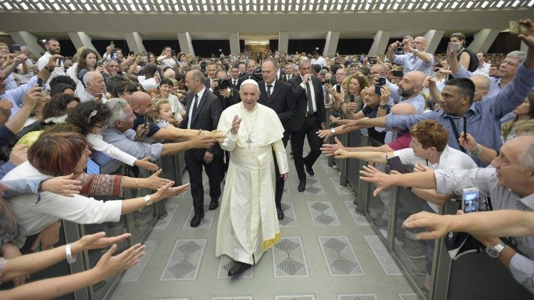 Pope Francis meeting members of the Italian Union for the Fight against Muscular Dystrophy in the Vatican, June2 2018.