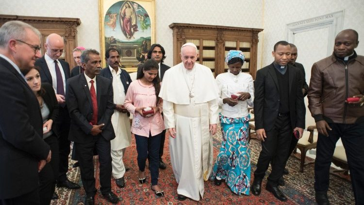 Pope Francis with Asia Bibi's husband and daughter to his right, at a meeting in the Vatican on 24 February, 2018.