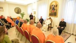 Pope Francis meeting representatives of Dharmic religions in the Vatican on May 16, 2018.