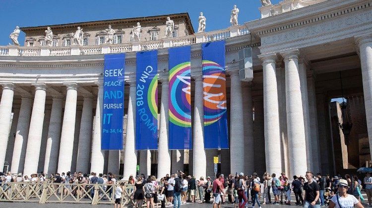 Banners with the motto of the 12th International Pilgrimage for Altar Boys and Girls hanging in St Peter's Square