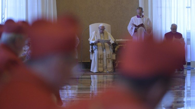 Pope Francis addresses Cardinals