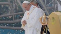 Pope Francis prays during the WYD in Brazil