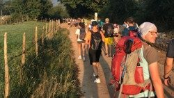 A walking pilgrimage youth group from Italy's Lombardy region.