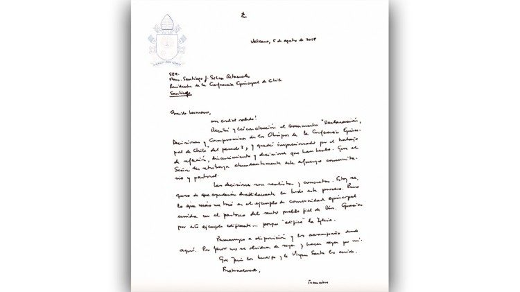 Pope Francis' letter to Chilean bishops