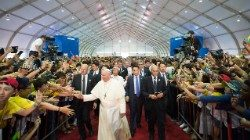 Pope Francis meeting Korean youth at the sanctuary of Solmoe in Dangjin on August 15, 2014.