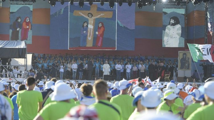 Pope Francis joins 70,000 Italian young people at Circus Maximus for an evening prayer service