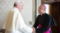 Pope Francis with the Substitute for General Affairs, Abp Edgar Peña Parra