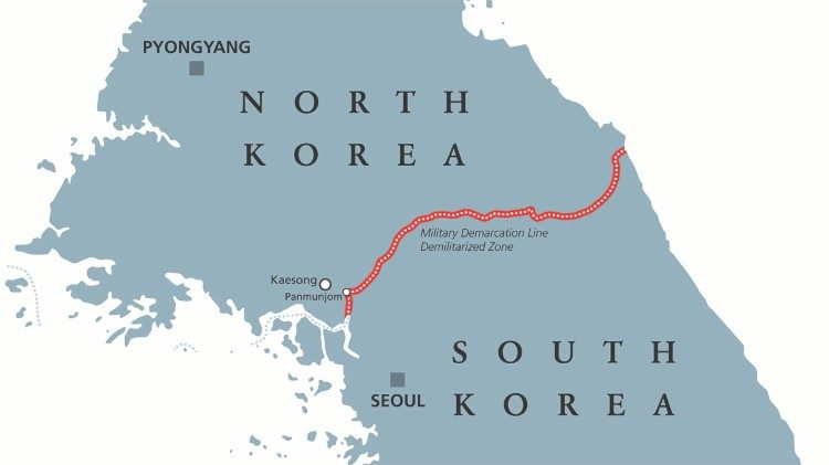The two Koreas, divided along the 38th parallel., are technically still at war with each other.