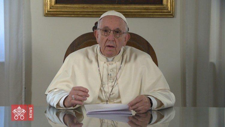 2018.08.21 fotogramma del videomessaggio del Papa
