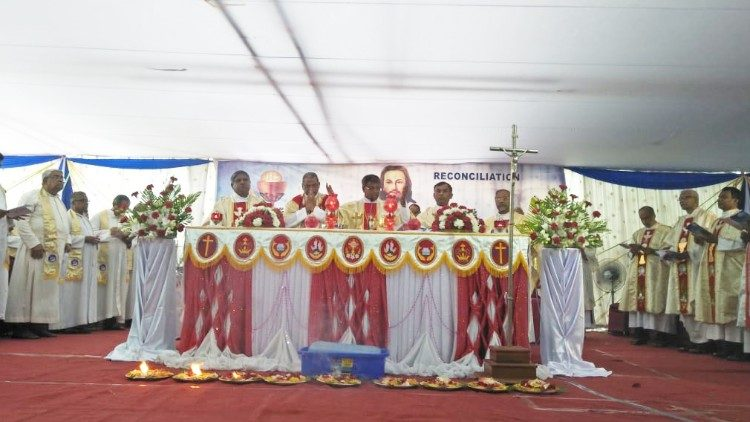 Indian Christians marking the 10th Anniversary of the atrocities in Kandhamal with a Mass in Bhubaneswar on August 25, 2018.