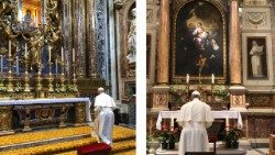 Pope Francis prays before the icon of Salus Popoli Romani in the Basilica of St Mary Major