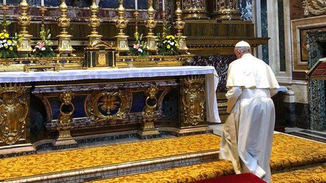 2018.08.27 Papa Francesco a Santa maria Maggiore al indomani del rientro del viaggio in Irlanda