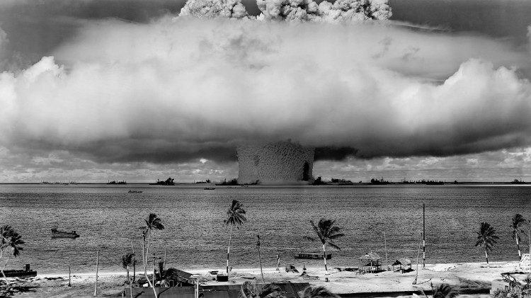 A nuclear test by the United States at Bikini Atoll in 1946.