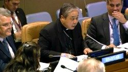 Archbishop Auza (centre) at the United Nations.