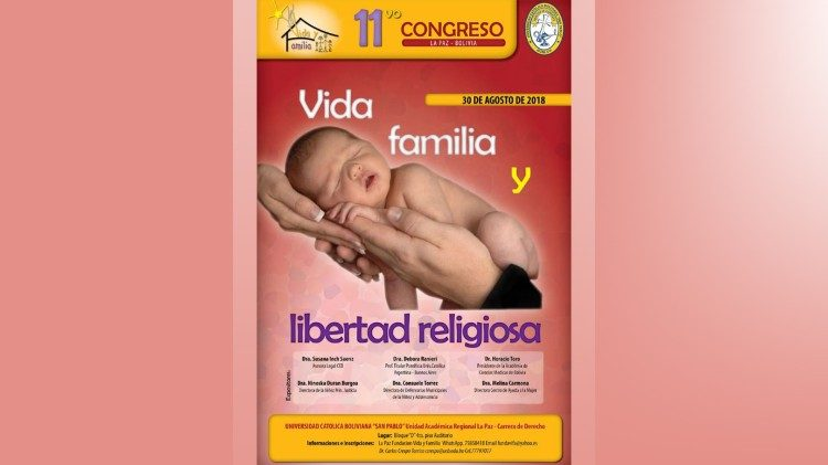"Flier announcing the ""Life, Family and Religious Freedom"" congress taking place in La Paz, Bolivia"