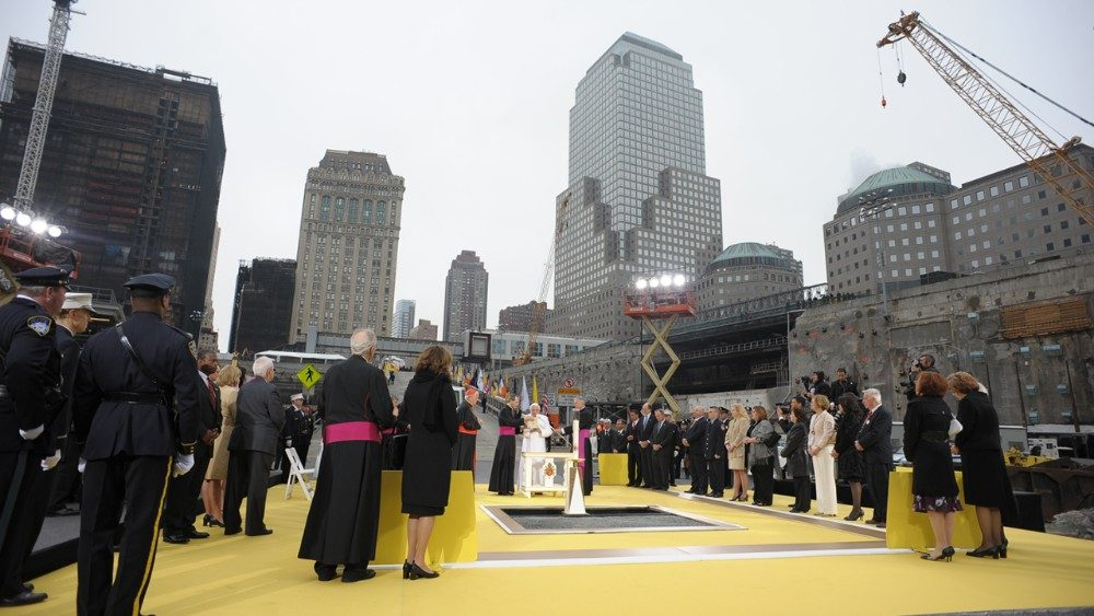Pope Benedict prays at Ground Zero in New York in 2008