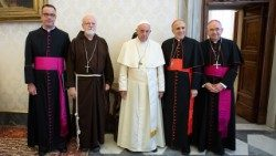 Pope Francis with the leadership of the USCCB at a meeting in Rome in September