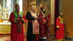 Cardinal Sandri during the Divine Liturgy marking the foundation of the Armenian Mekhitarist Congregation