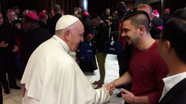 Pope Francis greets Iraqi auditor at Synod of Bishops, Mr Safa AL ABBIA