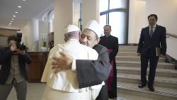 Pope Francis receiving the Grand Imam of Al-Azhar in the Vatican on October 16, 2018.
