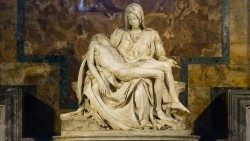 Pietà the masterpiece of Michelangelo in St. Peter's basilica with new lighting.
