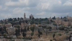 The Church of the Dormition dominating Mt. Zion in the Old City of Jerusalem.