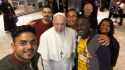 Pope Francis and young people at the Synod of Bishops in the Vatican.