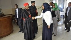 Ethiopian Cardinal Berhaneyesus with the the new Minister of Peace, Mrs Muferiat Kamil