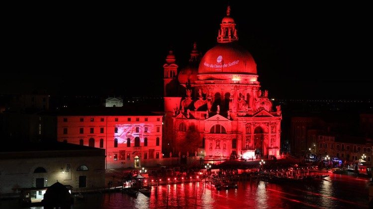 Venice floodlit in red