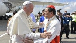 Pope Francis with Cardinal Charles Bo (L) in Myanmar in Nov. 2017.