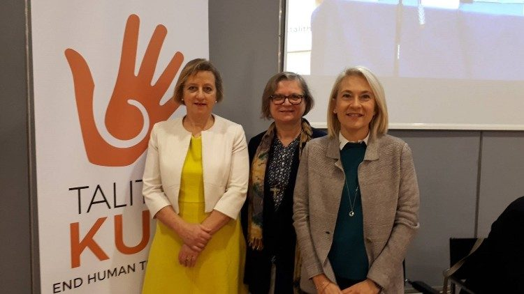 Ambassador Sally Axworthy, Sister Gabriella Bottani and Flaminia Viola of the Vatican's Section for Migrants and Refugees