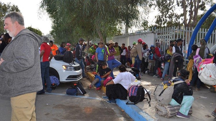 Members of the caravan waiting outside the Refugee Center Benito Juarez in Zona Norte Tijuana (Casa del Migrante in Tijuana)