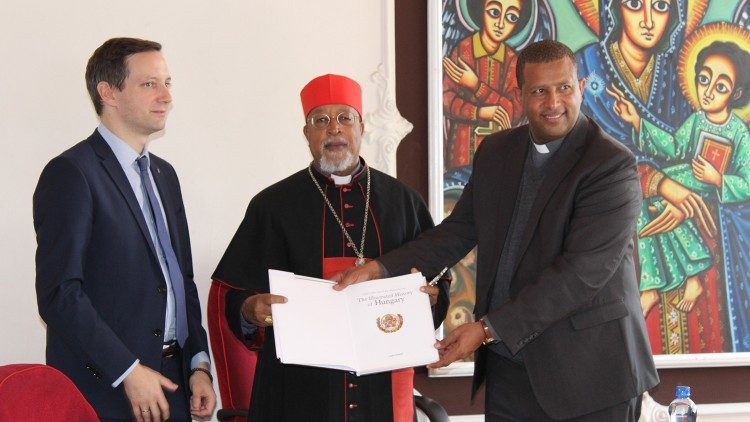 Ethiopian Cardinal Berhaneyesus meets, Tristian Azbej, the state Minister of Hungary in Addis Ababa
