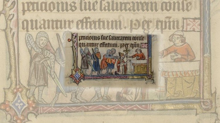The Martyrdom of St Thomas Becket depicted in the Book of the Hours, Sarum Rite, 14th Century.