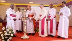 In the presence of Apostolic Nuncio Archbishop Giambattista Diquattro the inaugural ceremoney was done by Cardinal Oswald Gracias, the president of CCBI