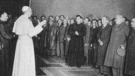 Pope Pius XII meets with a group of Jews who survived the Nazi concentration camps