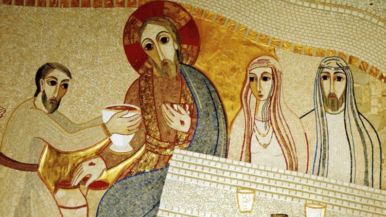 Wedding of Cana as depicted in mosaic by fr. marko rupnik sj