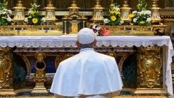 Pope Francis at Rome's St. Mary Major Basilica on January 22, 2019.