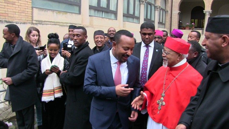 2019.01.22 Prime Minister of Ethiopia has visited Ethiopian college in the Vatican. All Ethiopian Bishops were there to welcome hm.