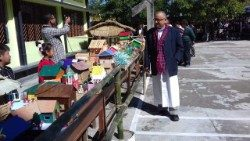"Indian Salesian Bishop George Pallipparambil of Miao inspecting the exhibition, ""Peace with Nature."""