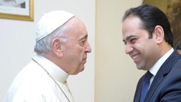 Pope Francis meeting Mohamed Mahmoud Abdel Salam in the Vatican in February 2019.