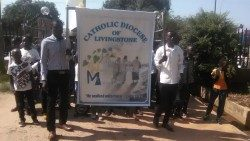 Livingstone Diocese youth in procession to the Cathedral of St. Theresa