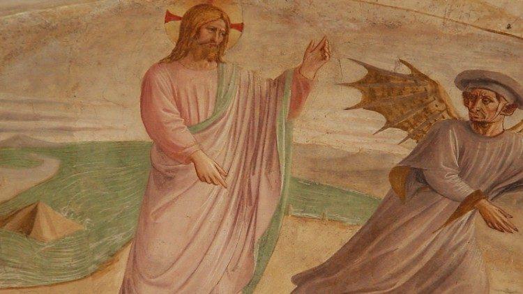 Jesus no deserto tentado pelo diabo