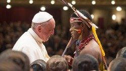 Pope Francis meets with indigenous Amazonic peoples in Puerto Madonado, Peru, 19 January 2018