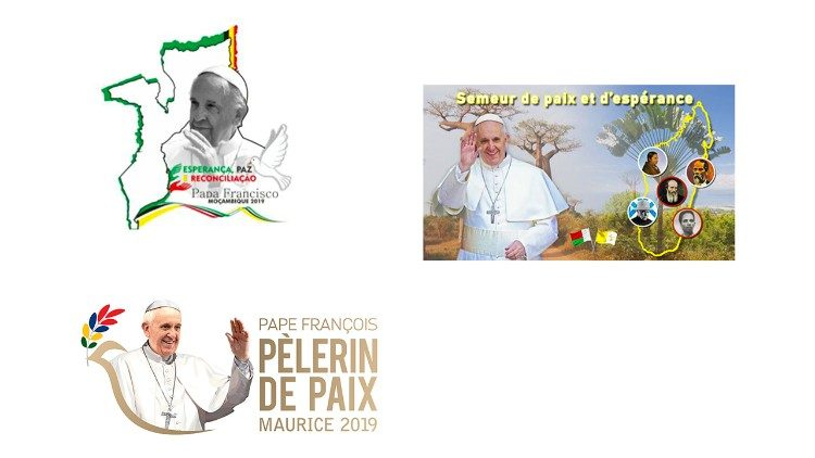 Official logos of Pope's Apostolic Visits to Mozambique, Madagascar, and Mauritius